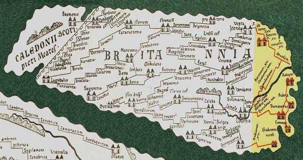 Part of Tabula Peutingeriana showing Britannia