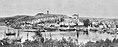 Part of panorama photo of Tønsberg, Vestfold - Riksantikvaren-T084 01 0527 from 1908 - Slottsfjellet, Slottsfjellstårnet, Slottsfjellmuseet, Slottsfjellskolen, Nordbyen, Tønsberg domkirke, Tønsberg ganle stasjon 02.jpg