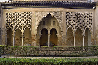 Alcázar of Seville - Patio del Yeso is the most significant of the Almohad Moorish remains. In the image its portico.