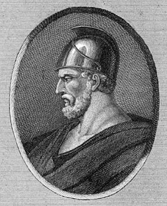 The Spartan general Pausanias commanded the Allied Greek troops. Pausanias 18th century print.jpg