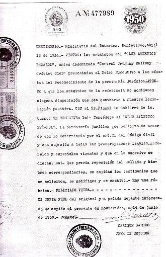 Peñarol - Uruguayan document acknowledging Peñarol as successor of the CURCC
