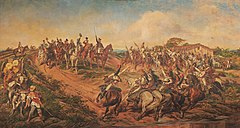 "Painting depicting a group of uniformed men on horseback riding towards a smaller group of mounted men who have halted at the top of a small hill with the uniformed man at the front of the smaller group raising a sword high into the air ""Independence or Death!"""
