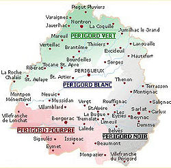 The four regions of Périgord