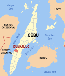 Map of Cebu showing the location of Dumanjug