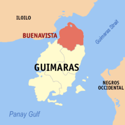 Map of Guimaras with Buenavista highlighted