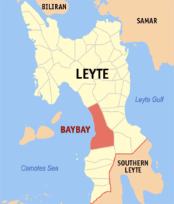 Map of Leyte with Baybay highlighted