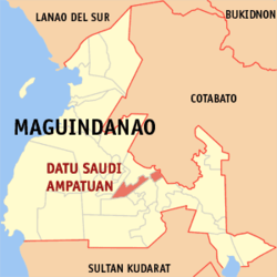 Map of ماگوئنداناؤ showing the location of Datu Saudi-Ampatuan