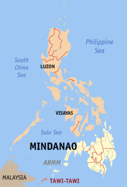 Map of the Philippines with Tawi-Tawi highlighted