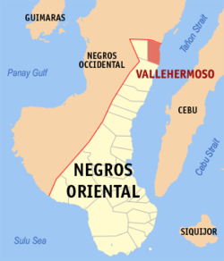Map of Negros Oriental with Vallehermoso highlighted