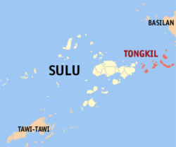 Map o Sulu showin the location o Banguingui