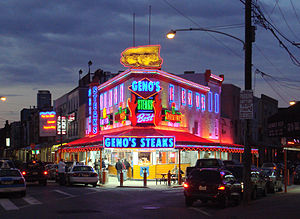 Geno's Steaks at dusk, Philadelphia, Pennsylvania.