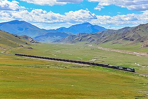 Southern Xinjiang Railway - The Southern Xinjiang Railway through the Tian Shan range in Hejing County.
