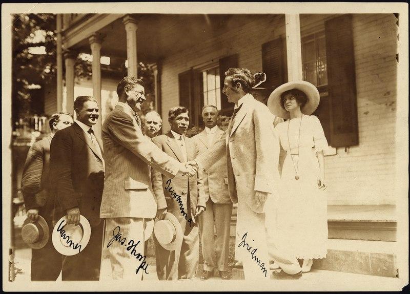 Photograph of Jim Thorpe with Admirers - NARA - 595392