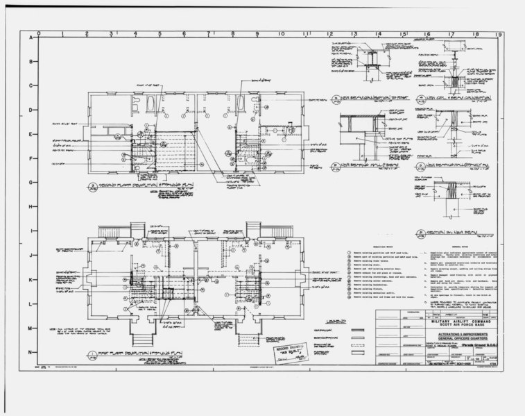File:Photographic copy of original remodeling drawings dated July 8, 1988 (original sepia in plan room of Base Civil Engineer, Scott AFB) First and second floor demolition and framing HAER ILL,82-OFAL,1-18.tif