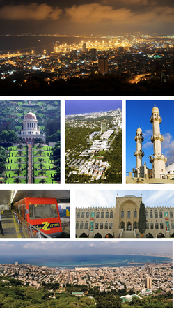 From upper left: View of Haifa at Night from Mount Carmel, Bahá'í World Centre, aerial view of the Haifa University, Ahmadiyya Mahmood Mosque, The Carmelit, National Museum of Science, Technology, and Space, View of Haifa at day from Mount Carmel