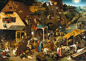 Folklore of the Low Countries - Netherlandish Proverbs, by artist Pieter Brueghel the Elder 1559, with peasant scenes illustrating over 100 proverbs