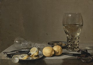Still Life with Two Lemons, a Facon de Venise Glass, Roemer, Knife and Olives on a Table