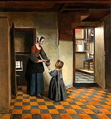 Femme avec un enfant dans un garde-manger