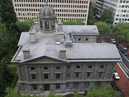 Built in 1869, Pioneer Courthouse (pictured) is the oldest federal building in the Pacific Northwest Pioneer Courthouse, Portland, Oregon, 2013.jpeg