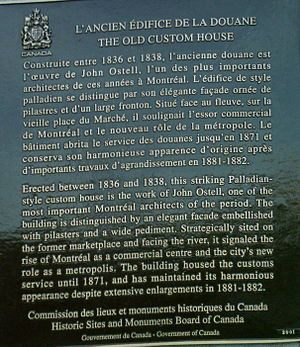 Old Custom House, Montreal - Image: Plaque Ancienne Douane