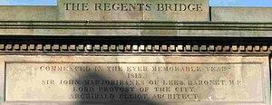 Regent Bridge - Inscription on the north side of Regent Bridge