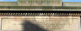 Regent Bridge - Inscription on the north side of Regent Bridge