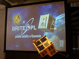 Polish satellite BRITE Heweliusz model in Gdansk 19.8.2014.jpg