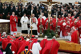Funeral of Pope John Paul II at the Vatican in April 2005, presided over by Cardinal Ratzinger, the future Pope Benedict XVI Pope John Paul II funeral.jpg