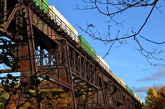 Portage Viaduct - A train crosses the Portage Viaduct
