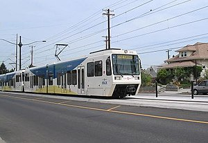 TriMet - MAX train traveling on the Yellow line (Interstate Avenue)