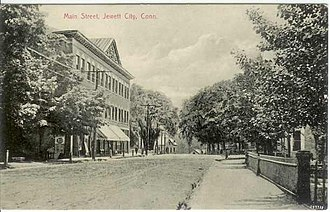 Jewett City, Connecticut - Image: Postcard Main St Jewett City CT1907