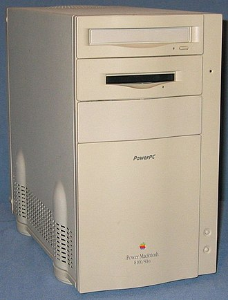 Power Macintosh - Front view of a Power Macintosh 8100/80AV, the most powerful first-generation Power Macintosh.