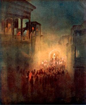 """Gaganendranath Tagore -  Water color by Tagore titled """"Pratima Visarjan"""" circa 1915"""