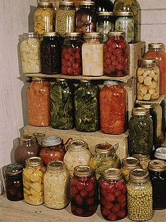 Mason jar Molded glass jar used in home canning to preserve food