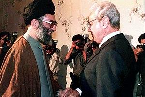 Javier Pérez de Cuéllar - Pérez de Cuéllar and President Ali Khamenei, 13 September 1987, Tehran