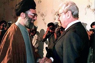 Javier Pérez de Cuéllar - Pérez de Cuéllar and President of Iran Ali Khamenei, 13 September 1987, Tehran