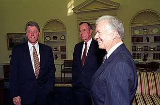 President Bill Clinton meeting with former presidents George H.W. Bush and Jimmy Carter at the White House in September 1993 President Bill Clinton meeting with former Presidents George H.W. Bush and Jimmy Carter at the White House.jpg