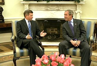 2003 in Norway - Norwegian Prime Minister Kjell Magne Bondevik (left) meets with U.S. President George W. Bush (right) at the Oval Office in White House, Washington, D.C., on May 27, 2003.