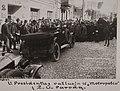 President Kazys Grinius leaves the Metropolis Restaurant for an agricultural exhibition in Kaunas, 1926.jpg