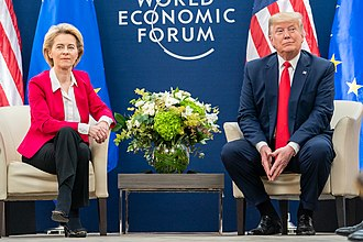 President of the European Commission Ursula von der Leyen meet with U.S. President Donald Trump with World Economic Forum, Davos, Switzerland, 21 January 2020 President Trump at Davos (49419286943).jpg