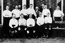 The Preston North End team in the 1888–89 season; the first season of league football.
