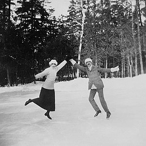 Princess Patricia of Connaught - Princess Patricia and Major Worthington on the skating rink at Rideau Hall in 1914