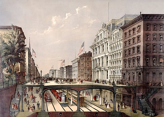 "Plan of 1868 for an ""arcade railway"" Proposed arcade railway broadway NY 1868 crop.jpg"
