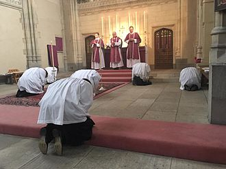 Pusey House, Oxford - The servers prostrate before the consecrated sacrament on Septuagesima Sunday 2016.