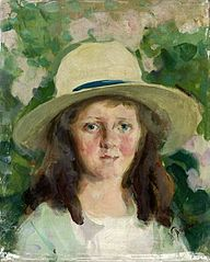 Portrait of a girl in a hat.