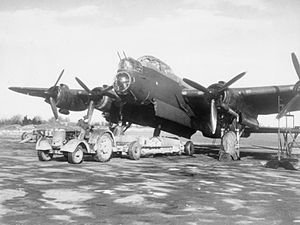 408 Tactical Helicopter Squadron - Bombing up a 408 Squadron Lancaster Mk II at RAF Linton-on-Ouse, England