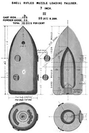 Palliser shot and shell - Image: RML 7 inch Palliser shell Mk III diagram