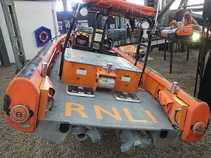 E-class lifeboat - Mark I E-002 Olive Laura Deare, retired and on display at Chatham Historic Dockyard