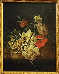 Posy of roses and other flowers on a marble ledge