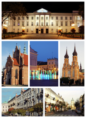 Left to right: Municipal Building  •  Bernardine Monastery and Church  •  Constitution of May 3 Square  •  St. Mary's Cathedral  •  Moniuszko St  •  Piłsudski St  •